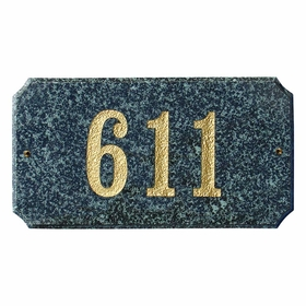 "Executive ""Cut Corner"" Rectangle Solid Granite Address Plaque with Engraved Text - Emerald Green Polished Stone Color"