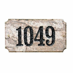 "Executive ""Cut Corner"" Rectangle Solid Granite Address Plaque with Engraved Text - Five Color Natural Stone Color"
