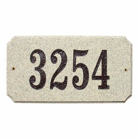 "Executive ""cut corner"" Rectangle ""Sand Granite Polished Stone Color"" Solid Granite Address Plaque"