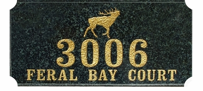 "Executive ""Cut Corner"" Rectangle Solid Granite Engraved Pet Plaque - Elk"