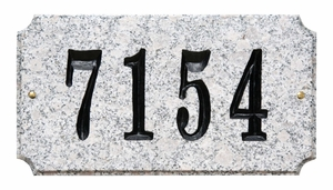 "Executive ""Cut Corner"" Rectangle Solid Granite Address Plaque with Engraved Text - White Granite Natural Stone Color"