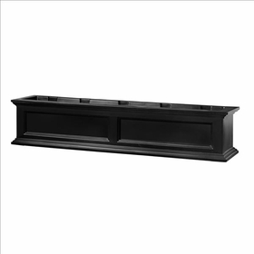 Fairfield Window Flower Box 5ft Wide in Black (includes wall mount brackets)