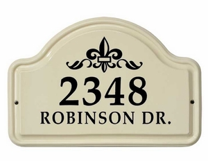 Whitehall Fleur De Lis Ceramic Arch - Standard Wall Plaque - Two Line - Black