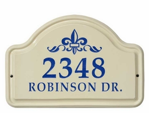 Whitehall Fleur De Lis Ceramic Arch - Standard Wall Plaque - Two Line