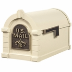 Fleur De Lis Keystone Series Mailbox - Almond with Antique Bronze