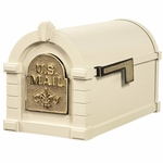 Fleur De Lis Keystone Series Mailbox - Almond with Polished Brass