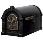 Fleur De Lis Keystone Series Mailbox - Black with Antique Bronze