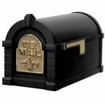 Fleur De Lis Keystone Series Mailbox - Black with Polished Brass Accent