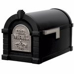 Fleur De Lis Keystone Series Mailbox - Black with Satin Nickel