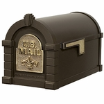 Fleur De Lis Keystone Series Mailbox - Bronze with Polished Brass
