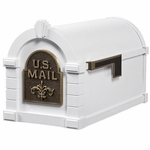 Fleur De Lis Keystone Series Mailbox - White with Antique Bronze
