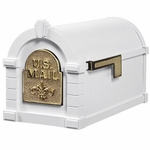 Fleur De Lis Keystone Series Mailbox - White with Polished Brass