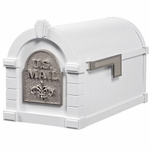 Fleur De Lis Keystone Series Mailbox - White with Satin Nickel