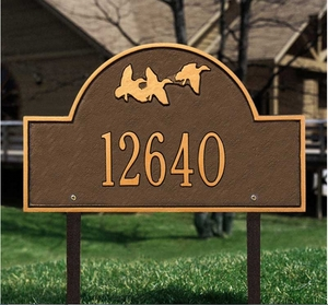 Whitehall Flying Duck Arch - Standard Lawn Address Sign - One Line