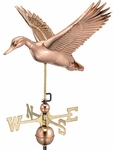 Flying Duck Weathervane - Polished Copper
