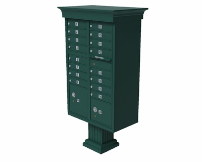 Forest Green Cluster Box Unit with Crown Cap and Pillar Pedestal accessories - 16 compartment