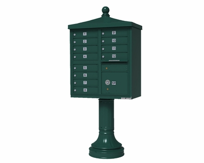 Forest Green Cluster Box Unit with Finial Cap and Traditional Pedestal accessories - 12 compartment