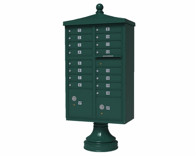 Forest Green Cluster Box Unit with Finial Cap and Traditional Pedestal accessories - 16 compartment