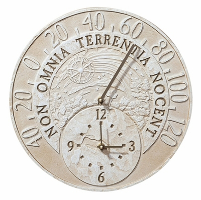 Whitehall Fossil Celestial Thermometer Clock Combo