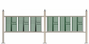 Free standing vario EXPRESS mail station kit with 4C mailboxes (120 tenant doors and 12 parcel lockers)