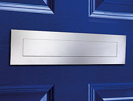 "Front and Rear Stainless Steel Mail Slot (large) 15.7"" x 3.9"" - Mirror Polished"
