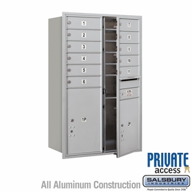 Front Loading 4C Horizontal Mailbox w/ 11 Tenant Doors and 2 Parcel Units for Private Use - Aluminum
