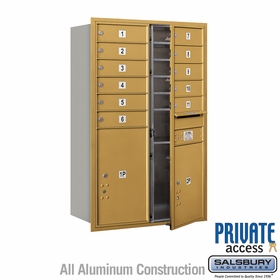 Front Loading 4C Horizontal Mailbox w/ 11 Tenant Doors and 2 Parcel Units for Private Use - Gold
