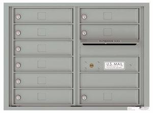 Front Loading Double Column Commercial Mailbox with 9 Tenant Doors