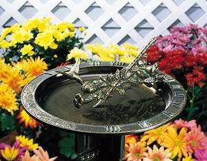 Whitehall Hummingbird Sundial Birdbath - Oil Rub Bronze