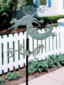 Whitehall Garden Directions COW OVER THE MOON Weathervane in Metallic Finishes
