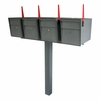 Ultimate High Security Locking Quadruple Mailbox & Post Package - Granite