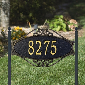 Whitehall Hackley Fretwork - Standard Lawn Address Sign - One Line