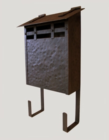 Handmade Vertical Wall Mounted Arts and Crafts Hammered Antique Mailbox