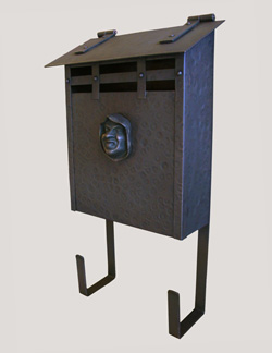 Handmade Vertical Wall Mounted Arts and Crafts Hammered Antique Copper Mailbox with Decorative Monk