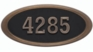 Housemark Large Oval Address Plaques Black with Antique Bronze