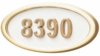 Housemark Large Oval Address Plaques White with Brass Trim