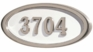 Housemark Large Oval Address Plaques White with Satin Nickel Trim