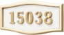 Housemark Large Roundtangle Address Plaques White with Brass Trim