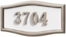 Housemark Large Roundtangle Address Plaques White with Satin Nickel Trim