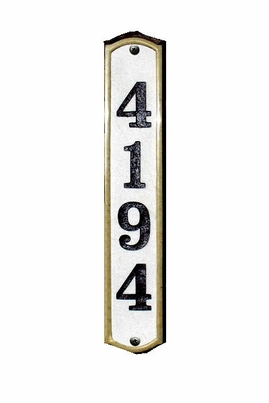 "Knoll Brook Vertical (3-1/4"" x 19"") 4-Digit Crushed Stone Address Plaque"