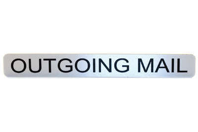 Label for Outgoing Mail Hood - Metal Adhesive w/ Black Lettering 'Outgoing Mail'