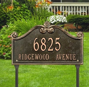 Whitehall Lancaster Estate One Line Lawn Address Sign