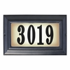 Edgewood Large Lighted Address Plaque with Cast Aluminum Numbers - Black Frame