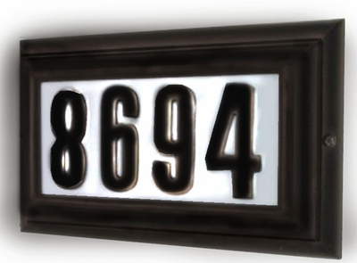 LARGE Lighted Address Plaque Oil Rubbed Bronze Frame
