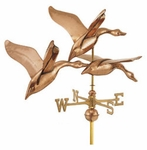 "Large Signature Series 3 Geese In Flight Copper Weathervane -�42""L X 21""H X 30"" Wingspan"