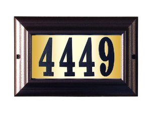 Edgewood Large Lighted Address Plaque with Cast Aluminum Numbers - Antique Copper Frame