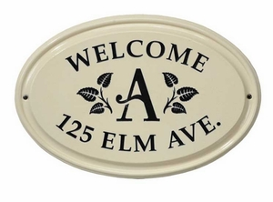 Whitehall Leaf Monogram Ceramic Oval - Standard Three Line Wall Plaque - Black