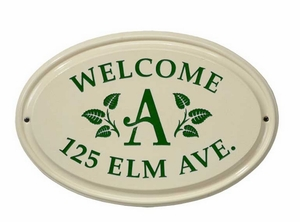 Whitehall Leaf Monogram Ceramic Oval - Standard Three Line Wall Plaque