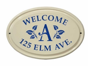 Whitehall Leaf Monogram Ceramic Oval - Standard Three Line Wall Plaque - Dark Blue