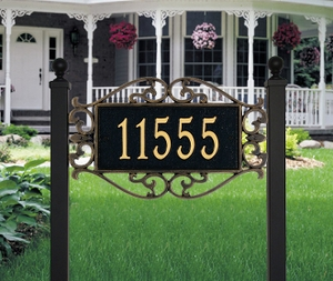 Whitehall Lewis Fretwork - Estate Lawn Address Sign - One Line